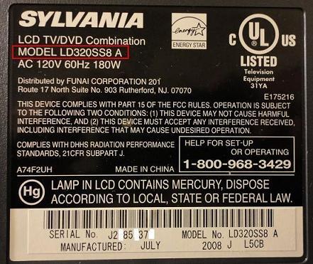 lcd tv slyvania LD320SSB